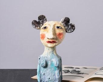 Woman with Jacaranda Ears, Paper Mache Statuette, Paper art, Collectible Art, Woman Figurine, Woman sculpture, Living room Decoration