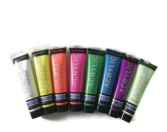 Acrylic Paint - 8 Neon colors - 75ml - Glow in the dark
