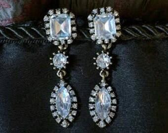 Antique or Vintage Style Crystal Drop Earrings
