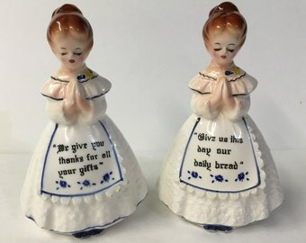 Set of Vintage Praying Girls Salt & Pepper Shakers | Blue and White