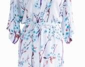 Bridesmaid robes bridal party cotton wedding robe dressing gown bride floral white blue blossom kimono