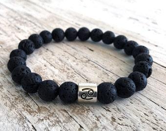 CANCER Lava Bead Bracelet, Minimalist Stack Bracelet, Zodiac Focus Bead, Zodiac Jewelry, Boho, Cancer Bracelet,