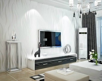 Off White Modern Wave Wallpaper