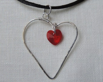 Silver and Red Heart Pendant, Sterling Silver Heart Necklace, Hammered Silver Heart Necklace with Red Swarovski Heart, Minimal Necklace