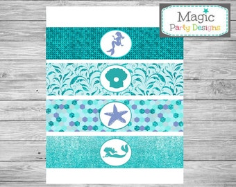Mermaid party water bottle labels, Mermaid birthday water bottle wrappers, Under the sea party, Printable water bottle labels