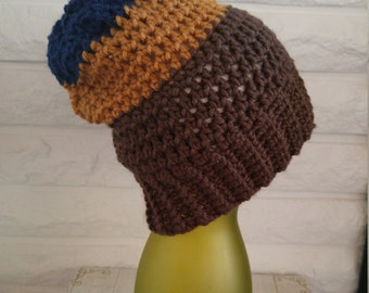 Boys slouch hat, slouchy beanie, winter slouch hat, brown and blue beanie slouch, accessories, fall, winter and spring fashion