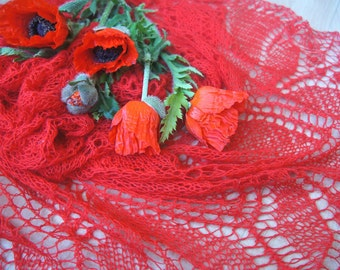 Hand knitted romantic lace shawl Triangular red merino shawl Delicate soft airy ready to ship wedding shawl