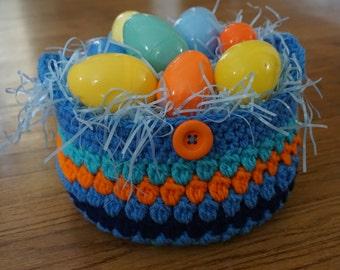 Blue and orange basket, crochet basket, medium size basket, basket crochet, blue Easter basket, storage basket