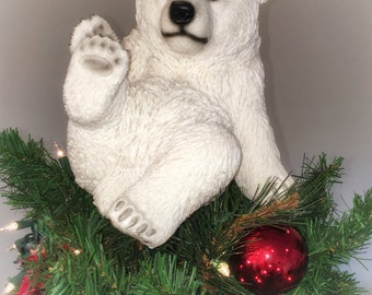 Playing Polar Bear Sitting Unique Christmas Tree Topper