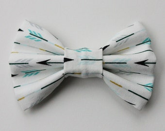 White Blue Arrow Dog Bow Tie
