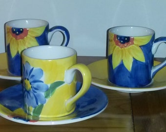 Espresso cup and saucers, Whittard of Chelsea blue and yellow design