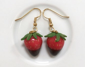 Chocolate Dipped Strawberry Earrings, Food Jewellery, Hypoallergenic, Surgical Steel, Miniature Food Earrings