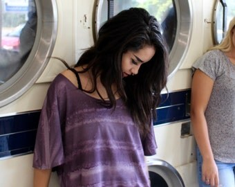 Off the Shoulder Dolman Slouchy Oversized Jersey Knit Top/Tee/T-Shirt in Purple M,L,XL