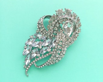 Silver Rhinestone Crystal Brooch Wedding Accessories Bridal Dress Brooch bouquet Hair comb