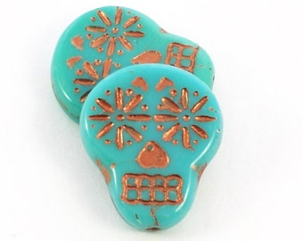 Czech Glass Beads - Sugar Skull Beads - Dia De Los Muertos Beads - Turquoise Opaque with Copper Wash Beads - 20x17mm - 2, 4 or 10 Beads