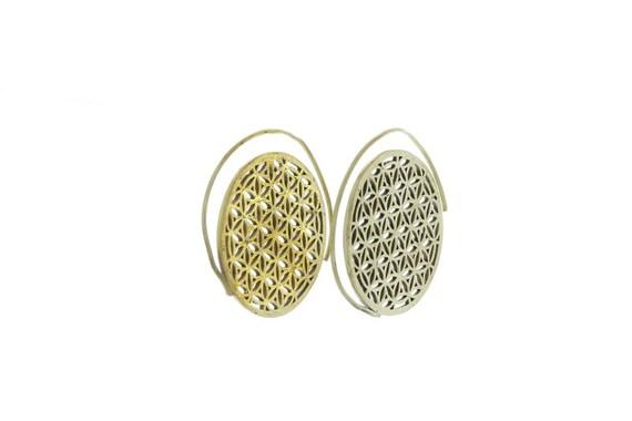 Flower of Life Earrings, Spiral Brass Earrings, Flower of Life Earrings, Gypsy Earrings, Ethnic Earrings