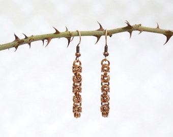 Copper - Byzantine - Chainmaille Earrings