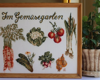 Kitchen wall décor German kitchen décor Cross stitch kitchen picture Vegetables Picture for kitchen German cross stitch Embroidery vegetable