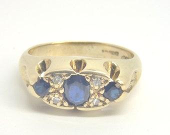 Vintage Sapphire & Diamond Ring   Size M 1/2 (UK) 6 1/2 (US)   Free Sizing / Shipping