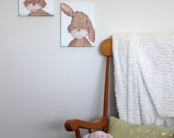 Woodland bunny nursery wall art