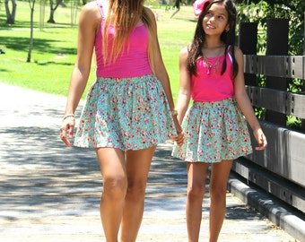 Light Blue Floral Skirts, mommy and me, mother daughter, mommy and baby, matching outfits, matching skirts