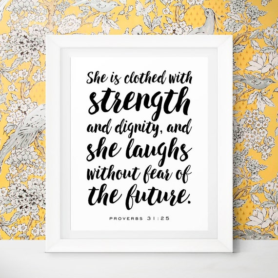 She Is A Woman Of Strength And Dignity: Gift Mom Inspirational Quotes Nursery Scripture She By