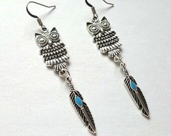 Owl earrings, feather earrings, boho earrings, nickel free earrings, animal earrings, bohemian jewellery, bird earrings, gypsy earrings