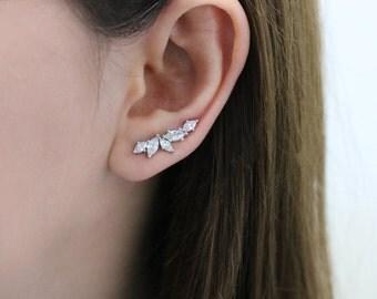 Ear Climber, Ear Crawler, Crystal Ear Climber , Ear Sweep, Crystal Ear Crawler, Bride Ear Climber, Bridal Ear Crawler, CZ Crystal Earring