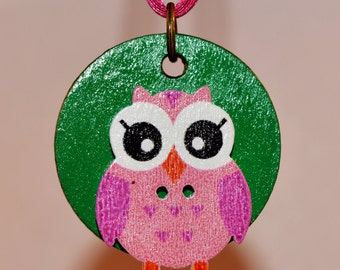 Owl on Green Necklace