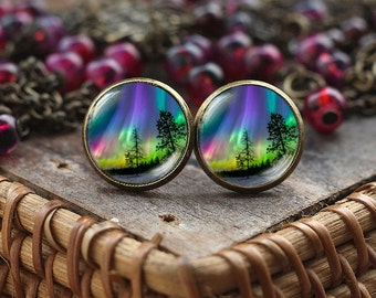 Northern lights stud earrings, northern light Jewelry, light earrings, Aurora Borealis earrings, Aurora earrings