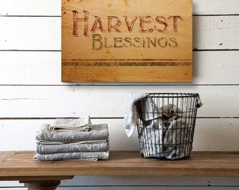 Harvest Blessings, Rustic Fall Decor, Thanksgiving Wall Decor, Rustic Canvas Decor, Canvas wall Decor, Canvas Wall Art, Giclee Canvas Print
