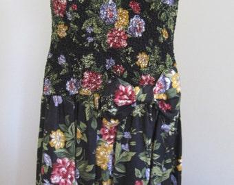 Black Floral Dress, Phoebe, Size 8 Petite, Vintage