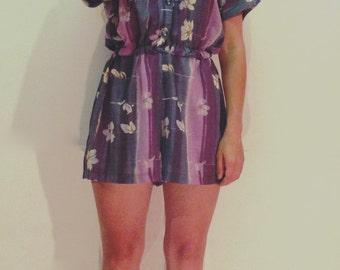 vintage floral romper / shorts onesie / sheer romper / vintage romper