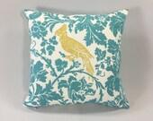 Bird & Floral Pillow Cover - Tropical Blue Floral Pillow - Barber Coastal Blue/Saffron Print - Accent Pillow Cover - Hidden Zipper
