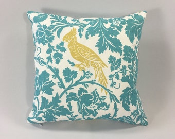 Bird & Floral Pillow Cover - Tropical Blue Floral Pillow - Barber Coastal Blue/Saffron Print - Accent Pillow Cover - Hidden Zipper