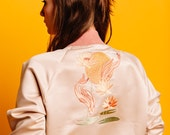 Women's Embroidery Bomber-jacket , Japanese Style, Free shipping, Harajuku style, Designer bomber-jacket, Beige