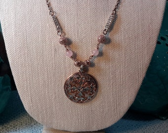 Pink and pretty silver and rosie gold pendant necklace