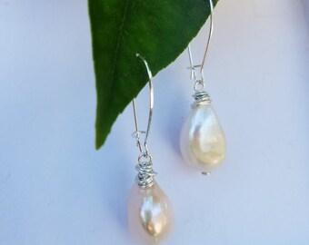 Natural baroque pearl drop earrings