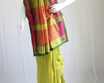 Green handloom cotton saree
