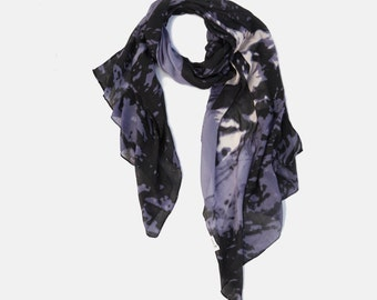 Holidays sale, Wolf Print surprise! Purple, Black & white Scarf that when opens reveals a wolf image. soft Viscose scarf. scarf on sale.