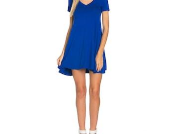 Fashionazzle Women's Solid Rayon Short Sleeve V neck Tunic Dress Royal