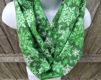 Green and White Snowflake Infinity Scarf