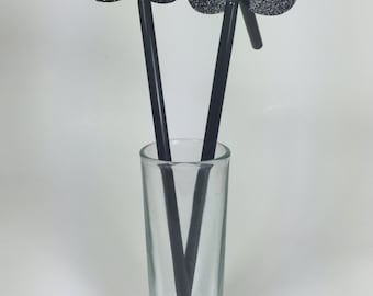 12+ Black Glitter Mustache Bendy Straws – Party Décor – Straws Included