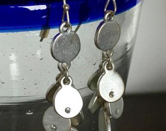 Cascading Silver Disc Dangle Earrings