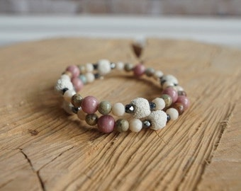 Essential Oil Diffusing Wrap Bracelet with Jasper, Rhodonite, Jade and Lava Beads