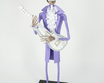 Prince, Catrina, Day of the dead, sculpture, skeleton, hand made, paper mache, figure, mexican art, Skull, fan art