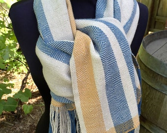 Organic Cotton Linen  Fibonacci Handwoven Lightweight Wrap, Shawl, Summer Scarf.  Would make a great gift!