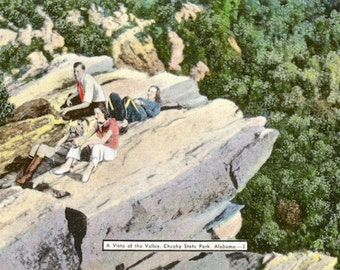 Cheaha State Park, Tallageda, Albama, Vintage Postcard, Vista View, People, Old Camera, Natural Color Card, Linen Postcard, Paper Ephemera