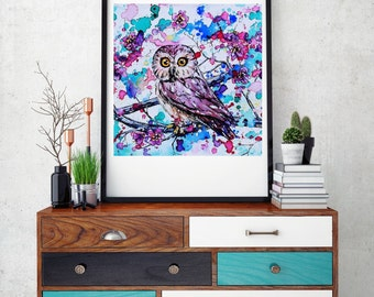Watercolor Owl Art, Woodland owl print, watercolor owl print, Woodland nursery art, Owl decor