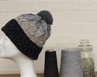 Merino Pom Beanie Hat Grey